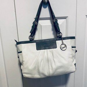 COACH White with Grey trim leather Purse